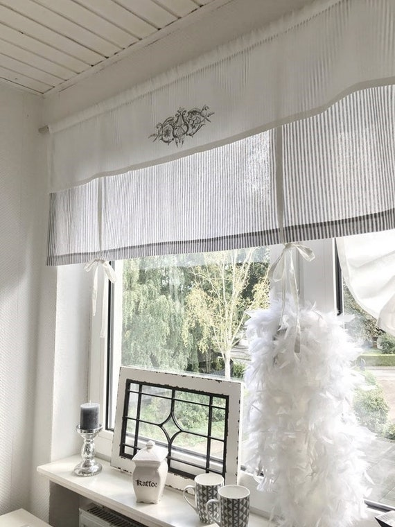 raffrollo gardine shabby gestreift grau o beige w. Black Bedroom Furniture Sets. Home Design Ideas