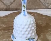Fenton Hobnail White Milk Glass Bell Handpainted Blue Floral Motif, Excellent Condition, 1950 39 s