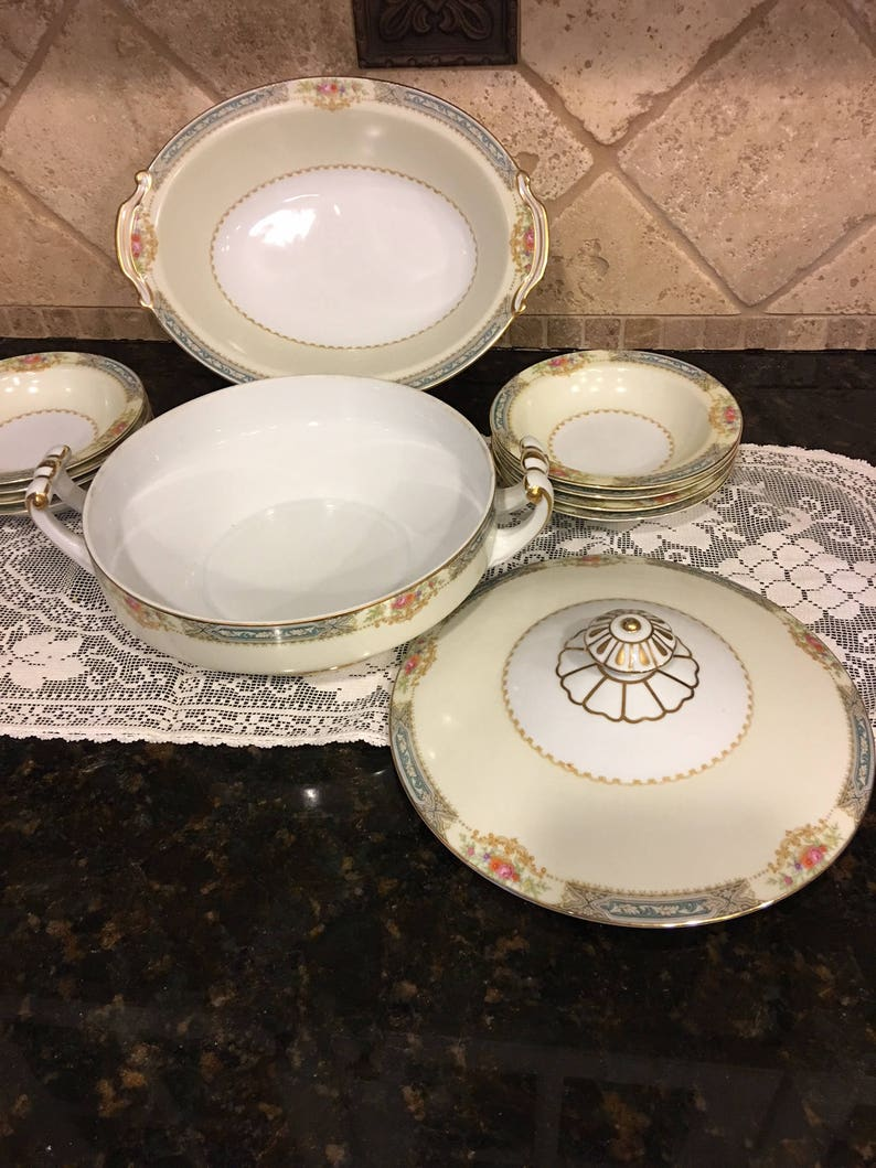 Occupied Japan Noritaki Blue Band Floral Soup Tureen and Vegetable Bowl Dish Set~ 11 pieces!!