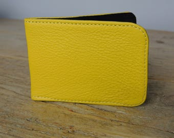 Yellow Leather Card Holder - Travel card case - Oyster Card Holder - Credit Card Case - Card Wallet