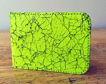 Flourescent Yellow Leather Card Holder - Travel card case - Oyster Card Holder - Credit Card Case - Card Wallet