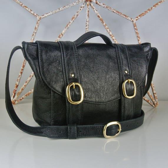 100% genuine buy cheap timeless design Black Leather 'Chloe' Handbag - Personalised - Shoulder bag- Cross-body bag  - Made in the UK - Italian Leather