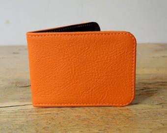 Orange Leather Card Holder - Travel card case - Oyster Card Holder - Credit Card Case - Card Wallet