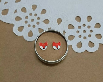 Mini fox stud earrings, handmade and illustrated