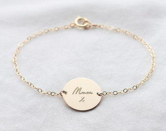 2942e360b Personalised Handwriting Disc Bracelet - actual handwriting jewellery - 14k  gold fill / sterling silver - family handwriting - gift for mum
