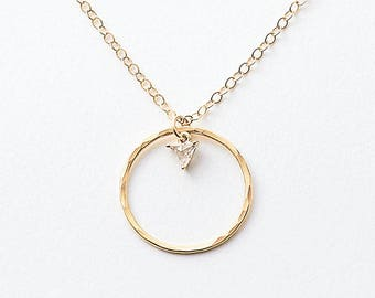 Hammered circle necklace - gold or silver ring necklace - open circle necklace - gold karma necklace - gift for friend