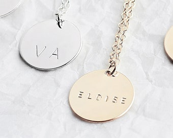 8056996c2 Large personalised disc necklace - gold circle necklace - customised  initial necklace - large disc necklace