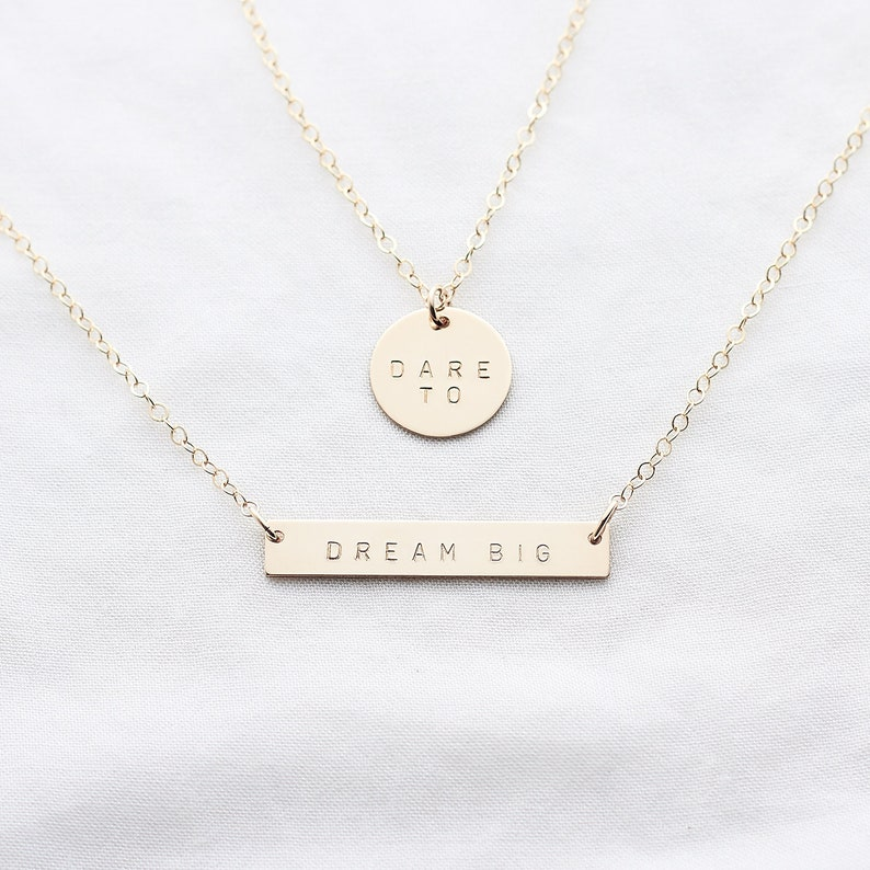 fd0061ddd2cdf Personalised necklace set - Dare to Dream Big - gold bar necklace -  layering necklace - brides necklace - inspirational jewellery