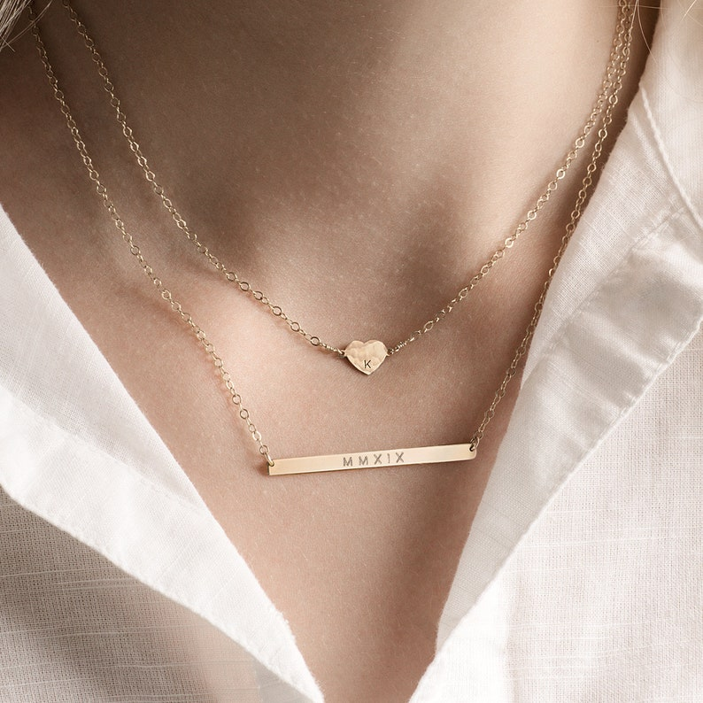b503b1a86f411 Heart and skinny bar layering necklace set - personalised bar necklace -  gold initial necklace - heart necklace - gift for her