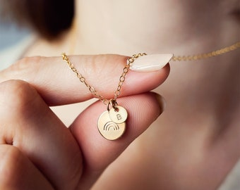 Personalised 14k Gold Filled Rainbow Necklace - initial disc necklace - rainbow charm - gift for her - hand stamped disc