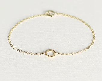 Eva - 14k gold circle bracelet - dainty gold bracelet - tiny circle bracelet - eternity bracelet - bridesmaids jewellery