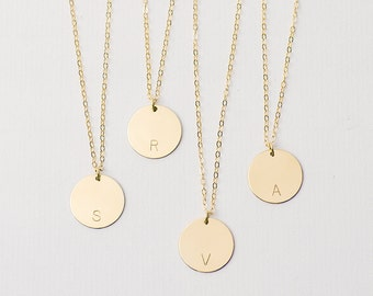Large personalised disc necklace  - gold pendant necklace - initial necklace - large disc necklace -  gold fill name necklace