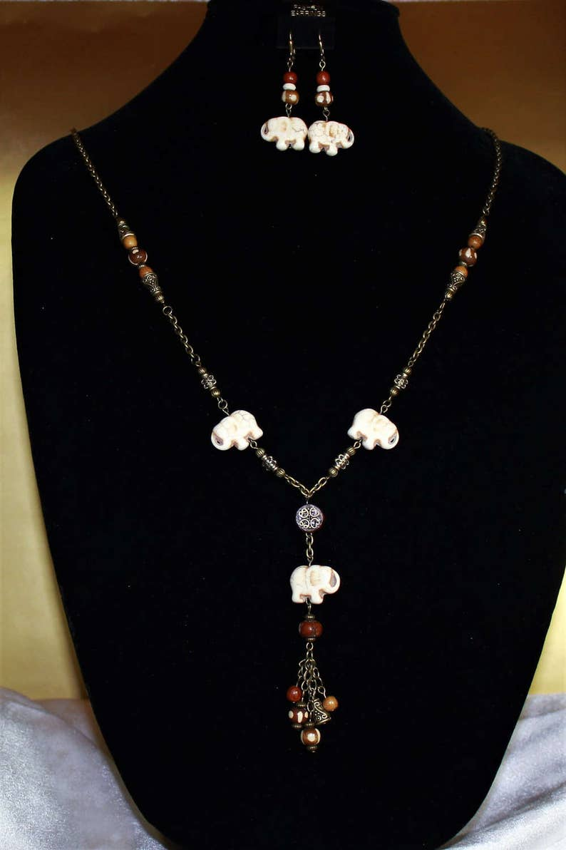 Bone and Wood Elephant necklace and earrings set with antiqued gold plated chain and clasps