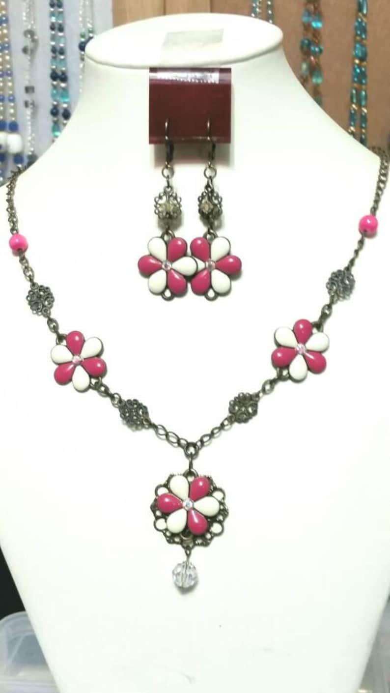 Antiqued Gold and floral Necklace and Earring Set