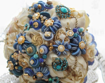 Vivian, Blue, Cream & Gold Unique Button Bridal Bouquet, wedding posy