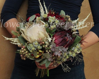 native artificial posy bouquet with Australian gum leaves and protea Abigail Bridesmaid Silk Ivory and blush protea