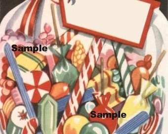 Vintage Digital download image , Candycane, Sweets #2 , cardmaking, Printable, Christmas, Scrapbooking, Vintage collage sheet