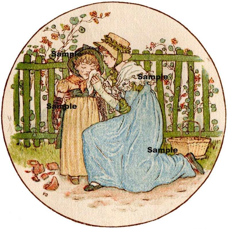 Scrapbook Collage Craft  Printable Digital Vintage Mother and Child Round Image x 9 other sizes in my store Kate Greenaway