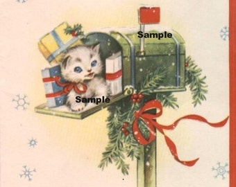 Vintage Digital download image , Cat , Kitten #3 , cardmaking, Printable, Christmas, Scrapbooking, Vintage collage sheet