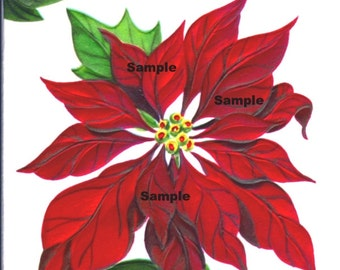 Vintage Digital download image , Poinsettia #2 , cardmaking, Printable, Christmas, Scrapbooking, Vintage collage sheet