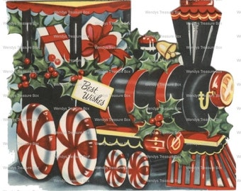 Vintage Digital image download, Christmas Train , Holly ,cardmaking, Printable, Scrapbooking, collage sheet