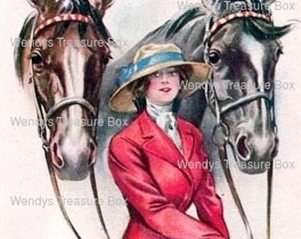 Digital download image , Vintage Lady and Horse image ,  cardmaking, Printable, Scrapbooking, collage sheet