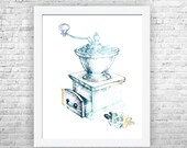 Vintage grinder art, home art decor, coffee grinder, kitchen print, coffee art print, kitchen wall decor, coffee poster, dining room art