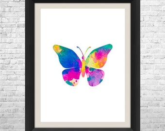 Butterfly Art Print, Butterfly Watercolor Painting, Nursery Wall Art, Abstract Watercolor Painting, Baby Nursery Art, Wall Decor