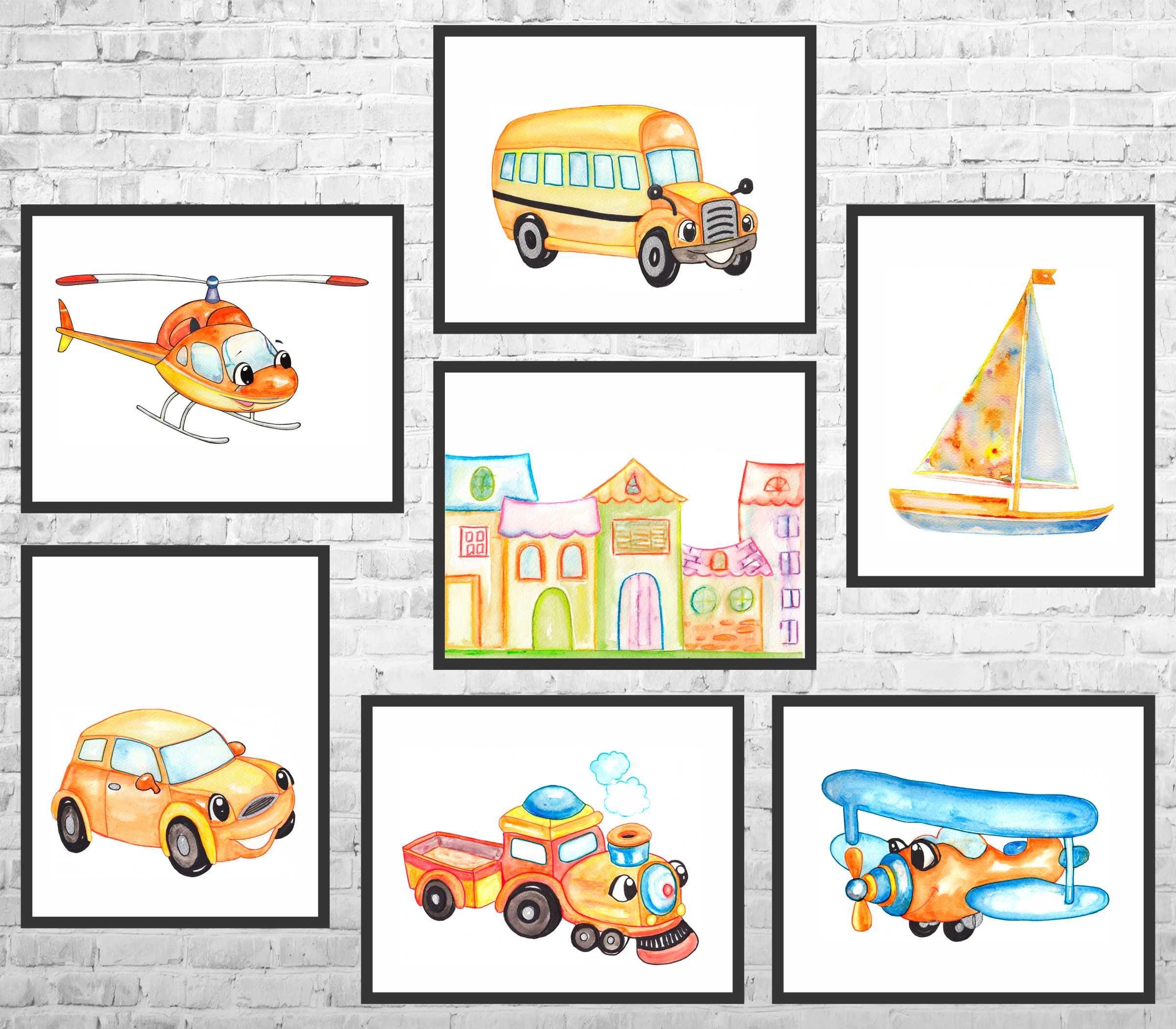 Airplane Transportation Nursery Wall Art Set Helicopter Car Set of 5 Nursery Prints Truck and Balloon Art Nursery Printable Wall Art