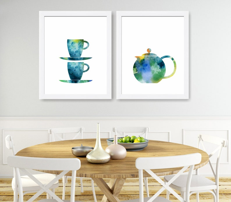 Set Of 2 Kitchen Prints Tea Coffee Print Art