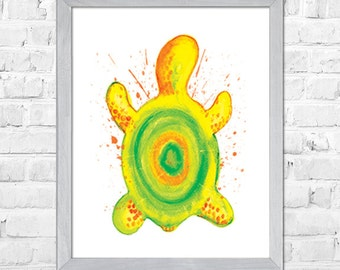 Sea Turtle Art, Turtle Watercolor Art Print, Sea Turtle Decor, Nautical Wall Art, Sea Life, Bathroom Art,Turtle Wall Decor, Nursery Print