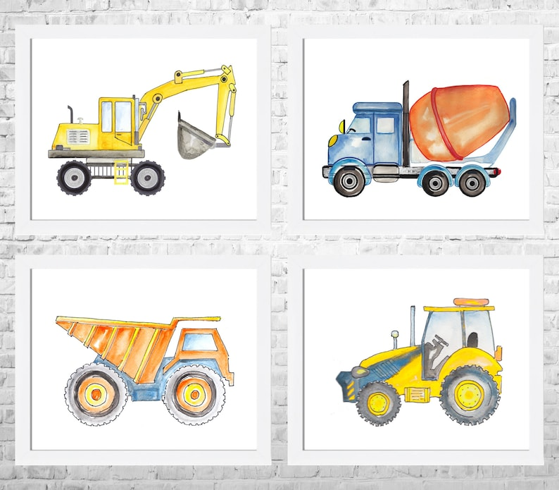 Construction Vehicle Watercolor Prints Set of 4 Digger Trucks image 0
