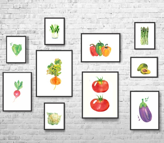 vegetables print set of 10-vegetables decor-kitchen | etsy