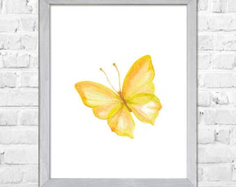 Yellow Watercolor Art, Butterfly Watercolor Print, Butterfly Watercolor Painting, Home Decor, Butterfly Art Print