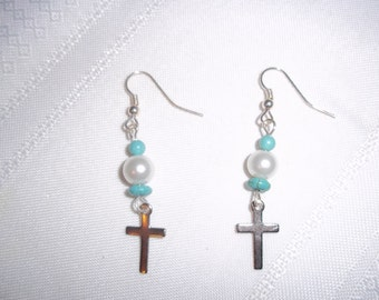 Silver Cross Pearl and Turquoise Beaded Dangle Earrings