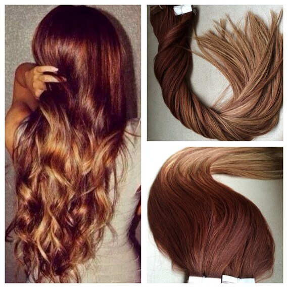 5 Star Ombre Balayage Cuticle Remy Human Auburn Ombre Tape In Etsy