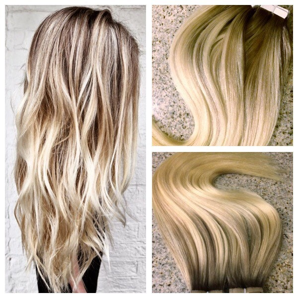 5 Star European Remy Double Drawn Highlighted Balayage Tape In