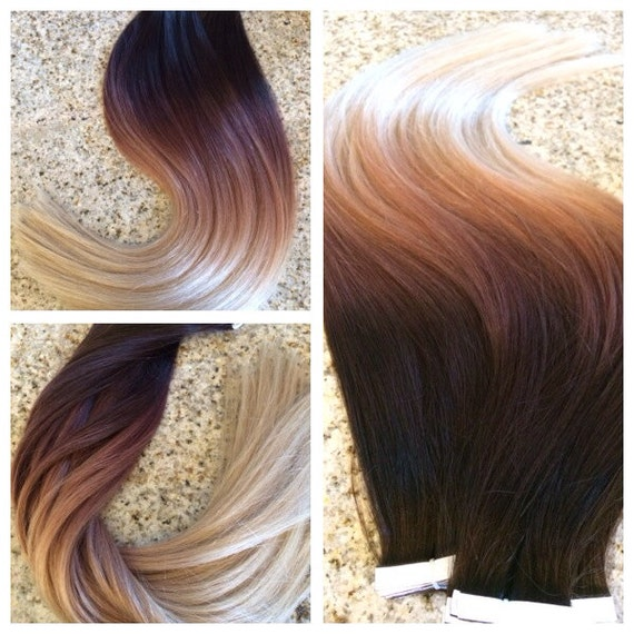 5 Star Ombre Balayage European Remy Tape In Seamless Weft Hair Etsy