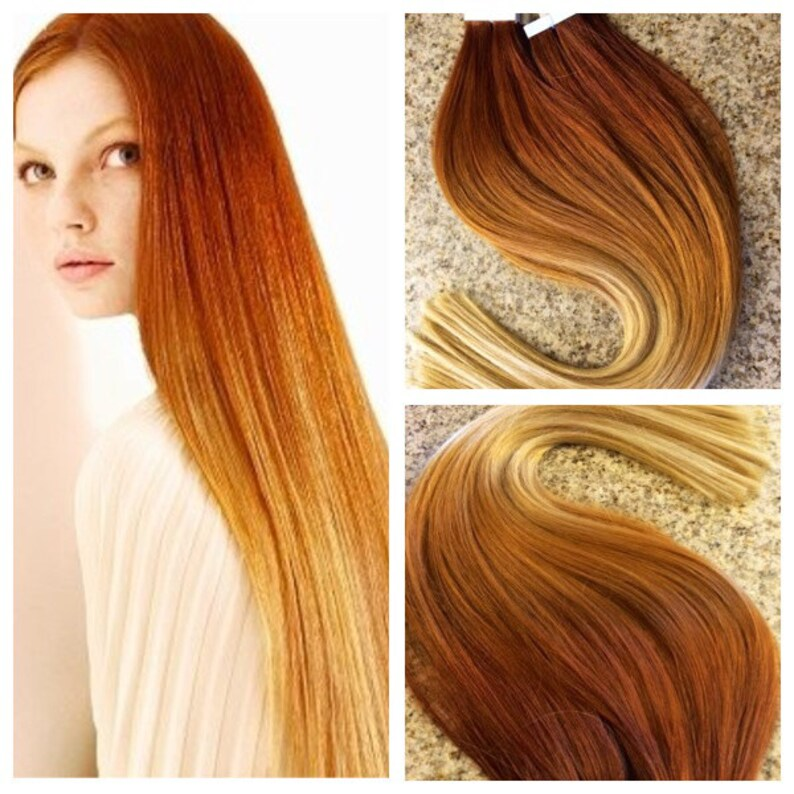 dc380fa91ee 5 Star Ombre Balayage Cuticle Remy Human Copper/Auburn Ombre   Etsy