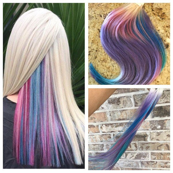 Full Cuticle Remy Tape In Ombre Hair Extensions 28pcs Dyed Unicorn