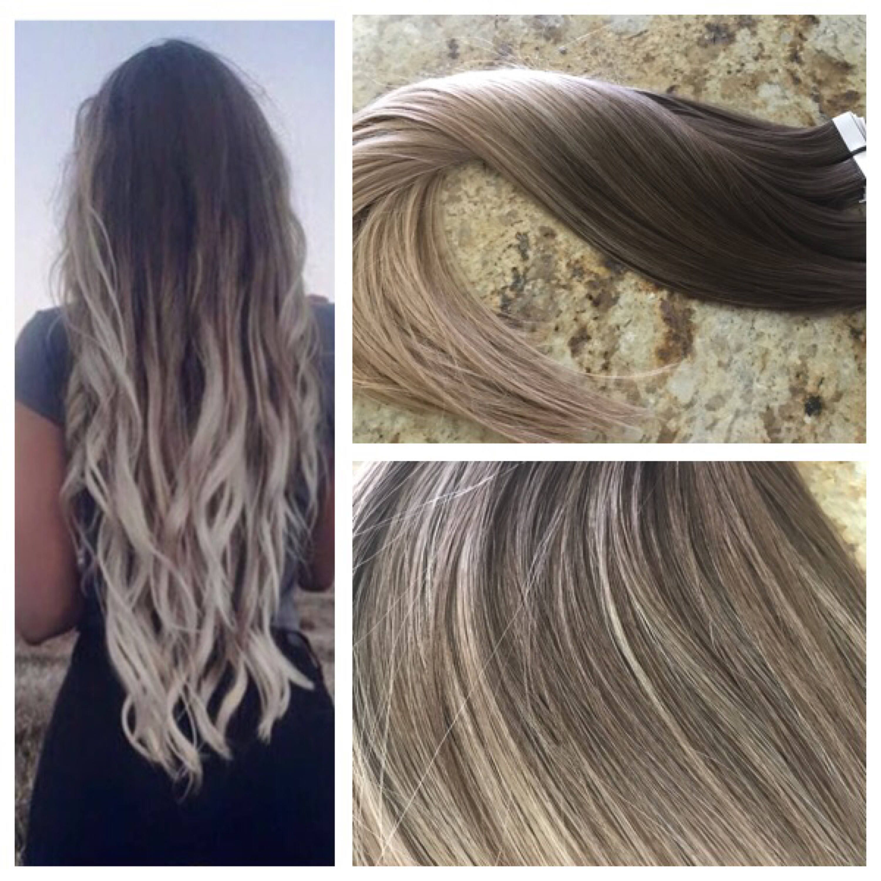 Full Cuticle Remy Double Drawn Balayage Ombre Tape In Seamless Weft