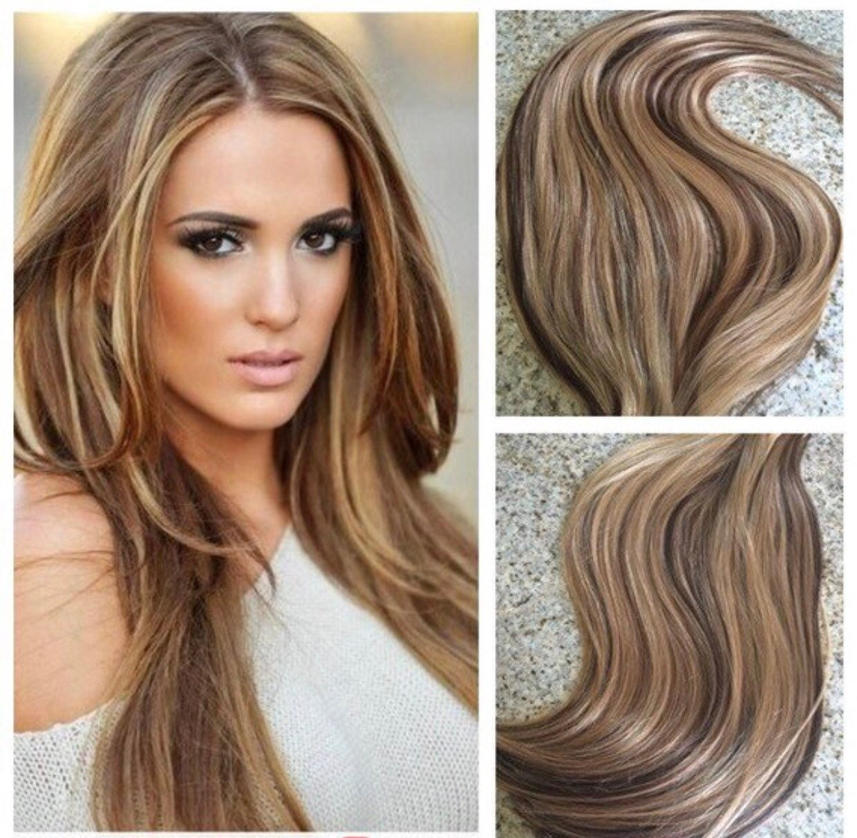 5 Star Ombre Remy Human Hair Clip In Weft Hair Extensions Brown To