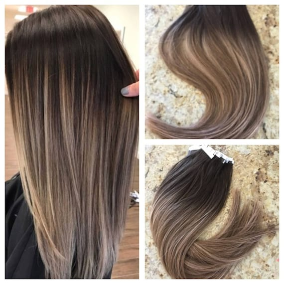 Full Cuticle Remy Double Drawn Balayage Ombre Tape In Seamless Etsy
