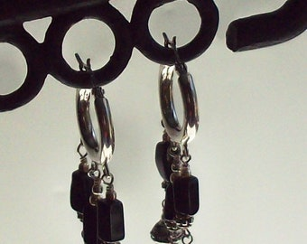 Bali silver dangle earrings, fresh water pearls, black onyx, sterling silver hoops, latch back