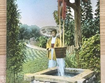 Vtg Postcard - Japanese Tea Garden at Coronado, CA - Lady Drawing Water - Vintage Ephemera