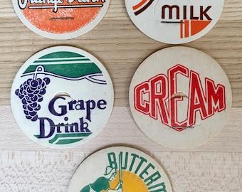 Vintage Milk Bottle Caps - Set of 5 - Buttermilk Milk, Kim Milk, Cream, Grape Drink, & Orange Drink - Altered Arts, Journals, Mixed Media