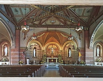 Vintage Color Postcard St Catherine's Church - Denver's Boulevard Church Beautiful - Lombard Style Architecture - Medieval Italian Style
