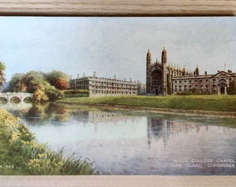 Vtg King's College Chapel and Clare, Cambridge Postcard - Published by Valentine & Sons LTD, Picture Original Watercolor by Brian Gerald