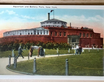 Vtg Aquarium and Battery Park, New York Postcard - Published by Manhattan Post Card Co - Copyright American Studio, NY
