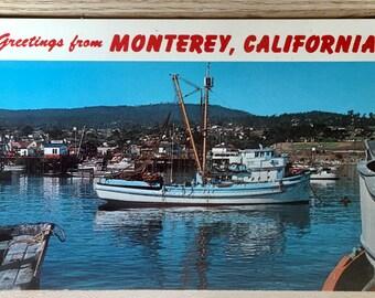 Vtg Greetings from Monterey, California Postcard - View of Harbor Looks Toward Fisherman's Wharf, & the Army Language School